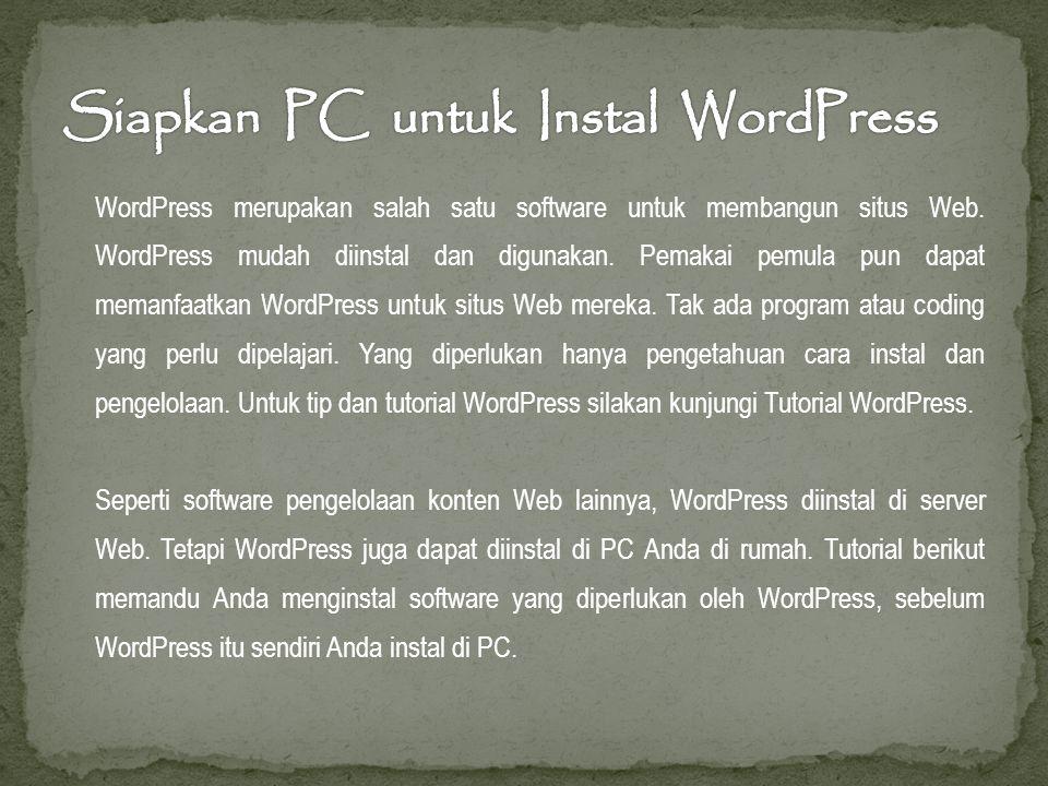 WordPress merupakan salah satu software untuk membangun situs Web.