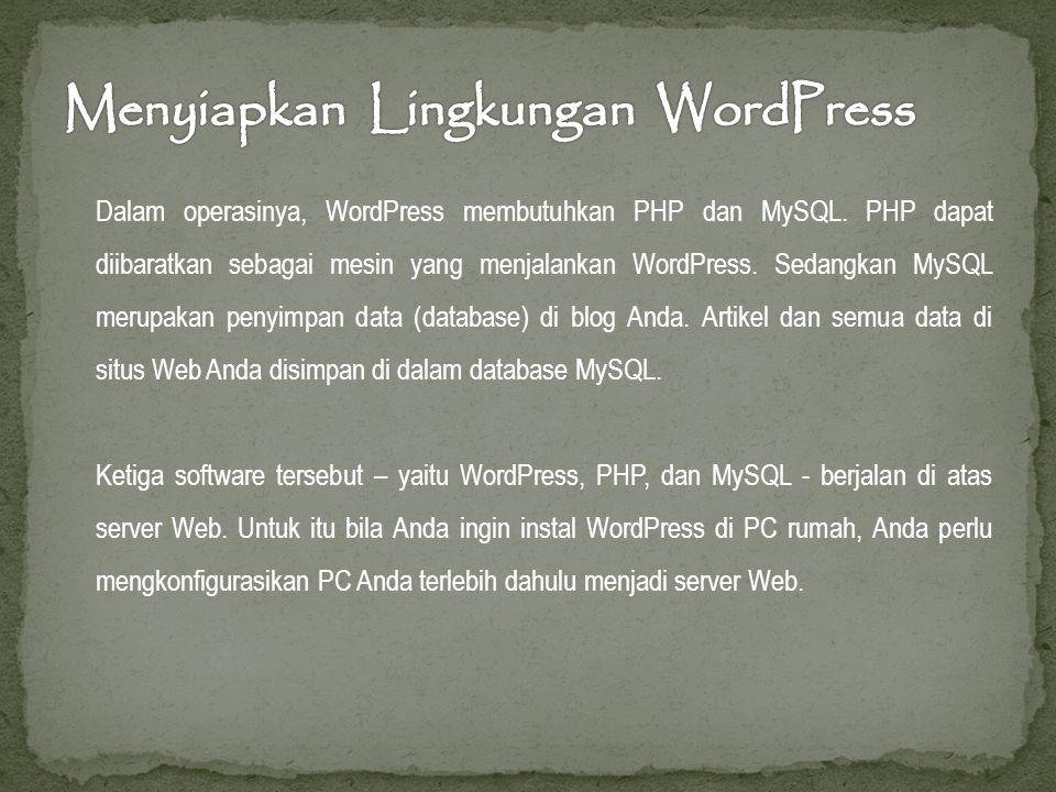 Dalam operasinya, WordPress membutuhkan PHP dan MySQL.