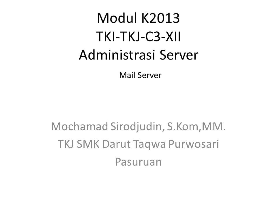 Modul K2013 TKI-TKJ-C3-XII Administrasi Server Mail Server Mochamad Sirodjudin, S.Kom,MM.
