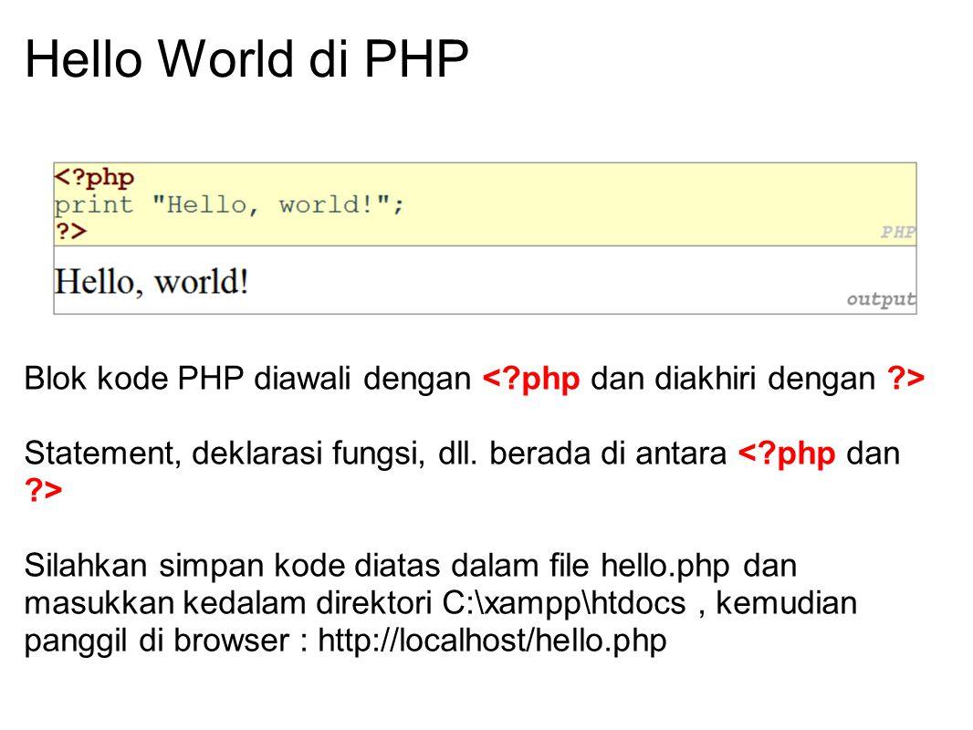 Hello World di PHP Blok kode PHP diawali dengan Statement, deklarasi fungsi, dll. berada di antara Silahkan simpan kode diatas dalam file hello.php da
