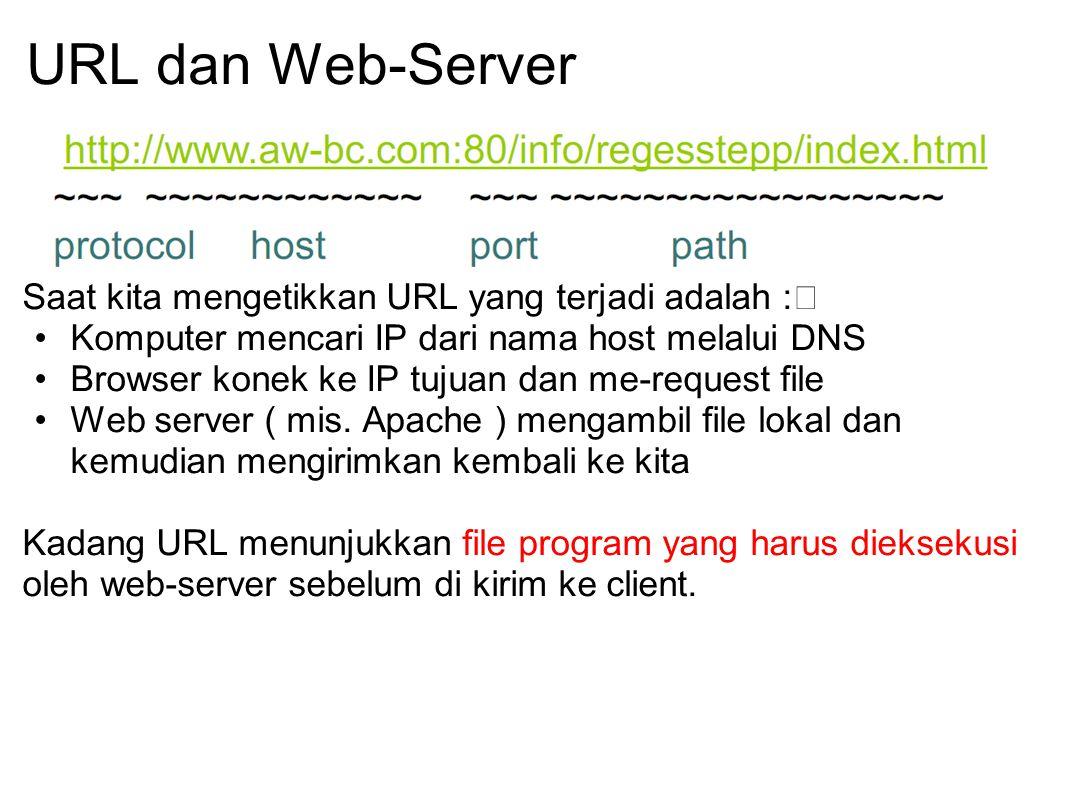 URL dan Web-Server Saat kita mengetikkan URL yang terjadi adalah : Komputer mencari IP dari nama host melalui DNS Browser konek ke IP tujuan dan me-re