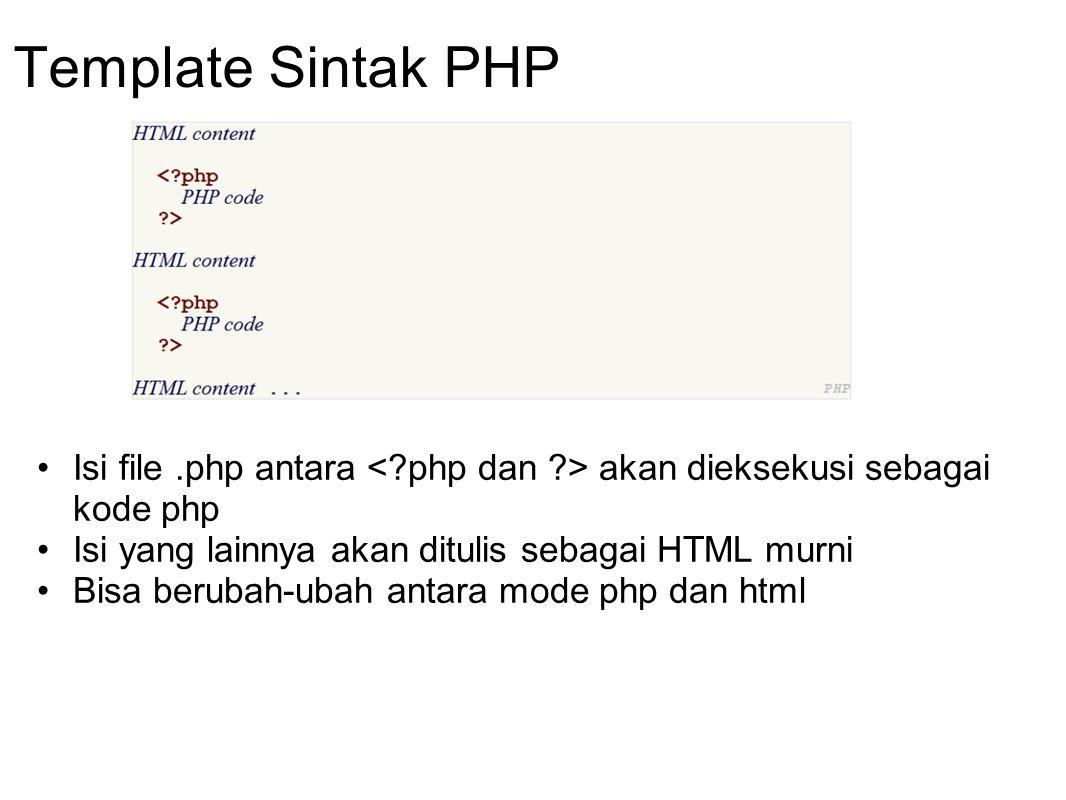 Template Sintak PHP Isi file.php antara akan dieksekusi sebagai kode php Isi yang lainnya akan ditulis sebagai HTML murni Bisa berubah-ubah antara mod