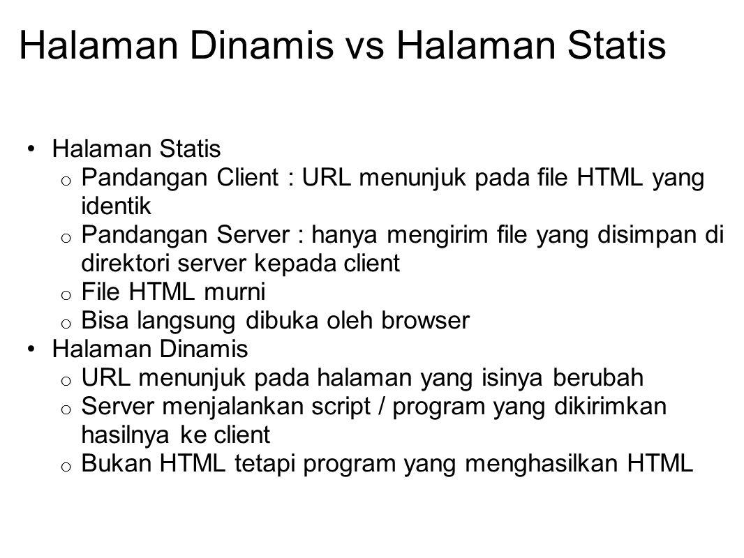 Halaman Dinamis vs Halaman Statis Halaman Statis o Pandangan Client : URL menunjuk pada file HTML yang identik o Pandangan Server : hanya mengirim fil