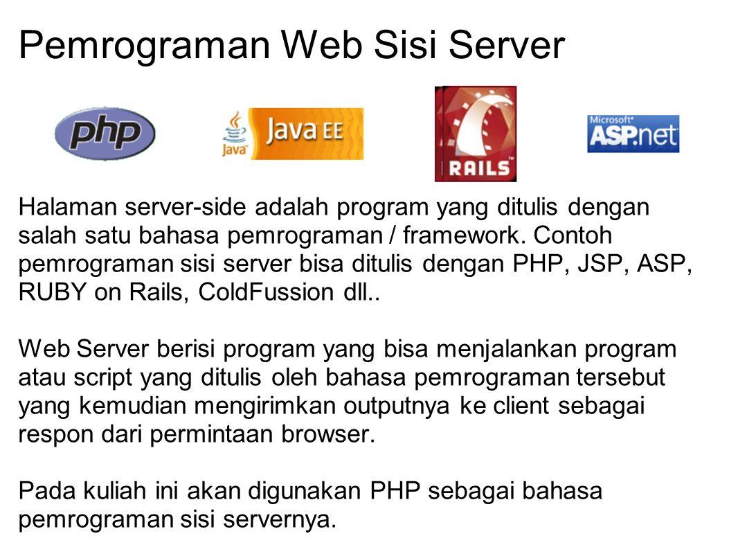 Pemrograman Web Sisi Server Halaman server-side adalah program yang ditulis dengan salah satu bahasa pemrograman / framework. Contoh pemrograman sisi