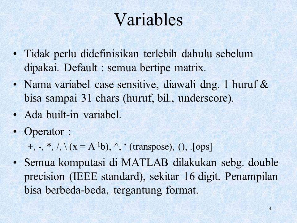 4 Variables Tidak perlu didefinisikan terlebih dahulu sebelum dipakai. Default : semua bertipe matrix. Nama variabel case sensitive, diawali dng. 1 hu