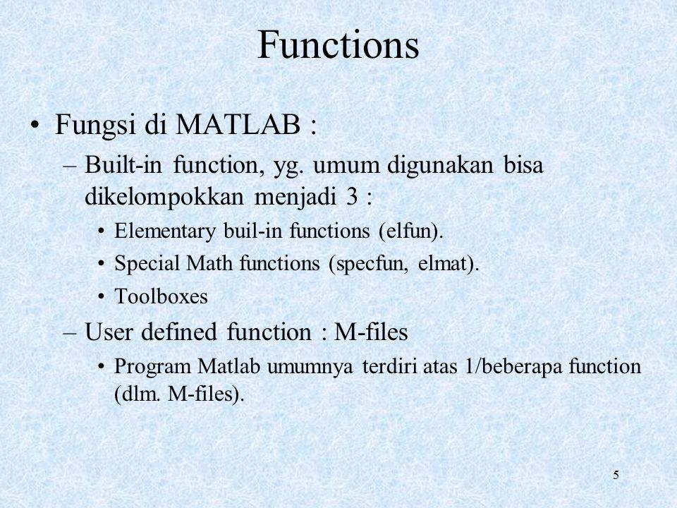 5 Functions Fungsi di MATLAB : –Built-in function, yg. umum digunakan bisa dikelompokkan menjadi 3 : Elementary buil-in functions (elfun). Special Mat