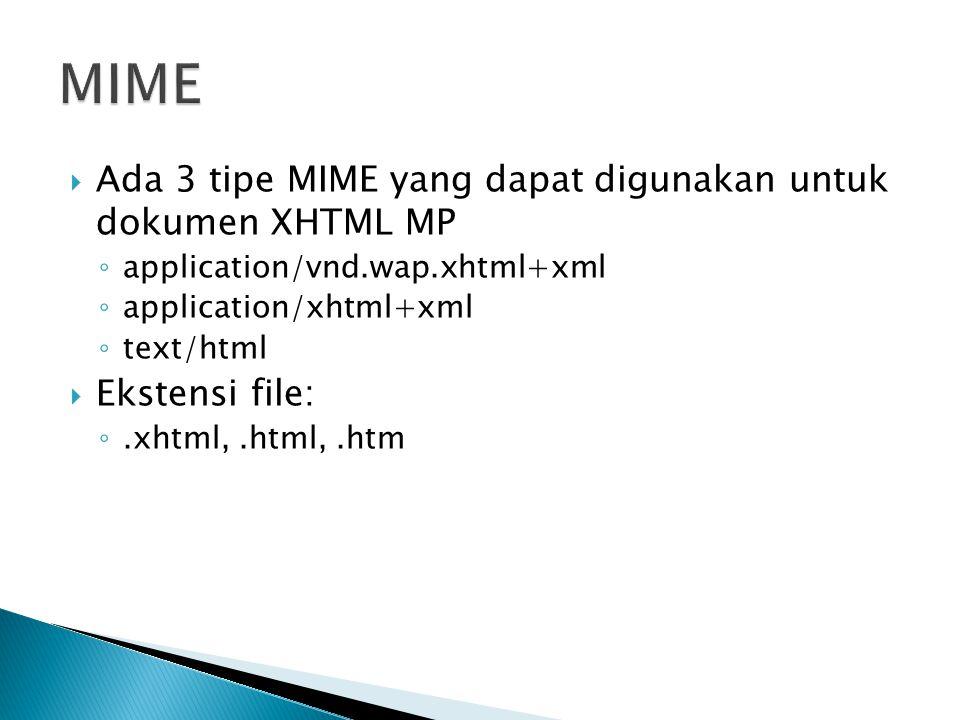  Ada 3 tipe MIME yang dapat digunakan untuk dokumen XHTML MP ◦ application/vnd.wap.xhtml+xml ◦ application/xhtml+xml ◦ text/html  Ekstensi file: ◦.x