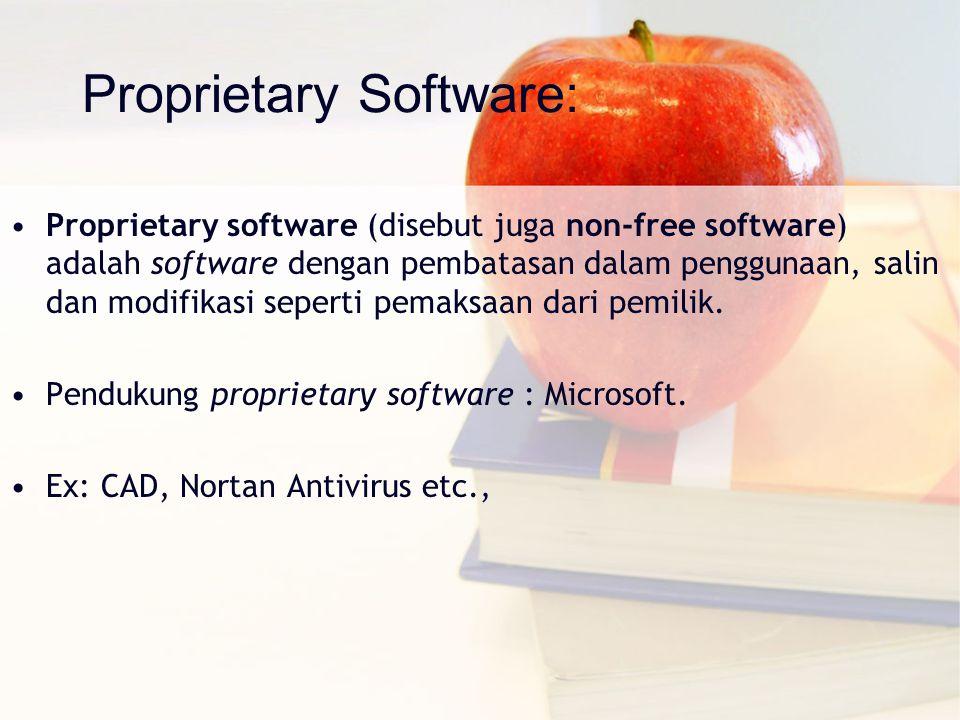Proprietary Software: Proprietary software (disebut juga non-free software) adalah software dengan pembatasan dalam penggunaan, salin dan modifikasi s