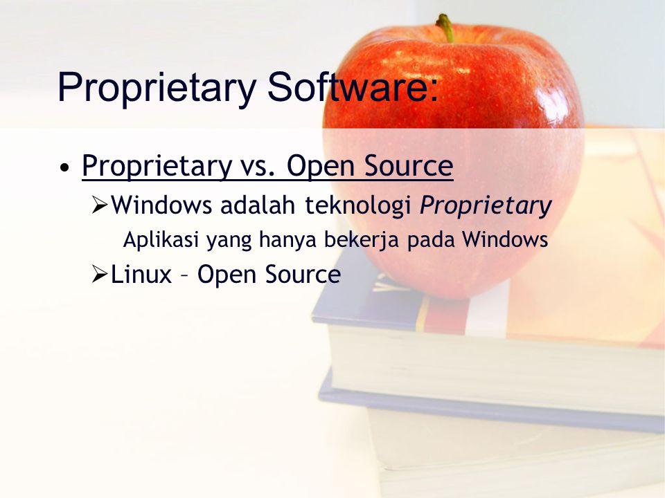 Proprietary Software: Proprietary vs. Open Source  Windows adalah teknologi Proprietary Aplikasi yang hanya bekerja pada Windows  Linux – Open Sourc