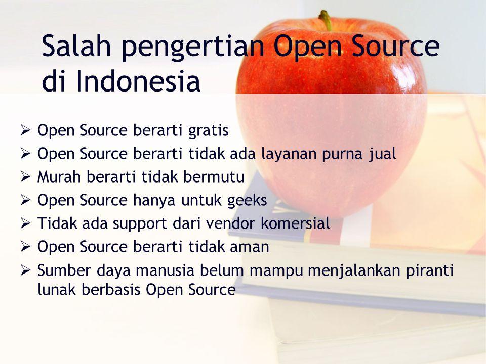 Salah pengertian Open Source di Indonesia  Open Source berarti gratis  Open Source berarti tidak ada layanan purna jual  Murah berarti tidak bermutu  Open Source hanya untuk geeks  Tidak ada support dari vendor komersial  Open Source berarti tidak aman  Sumber daya manusia belum mampu menjalankan piranti lunak berbasis Open Source