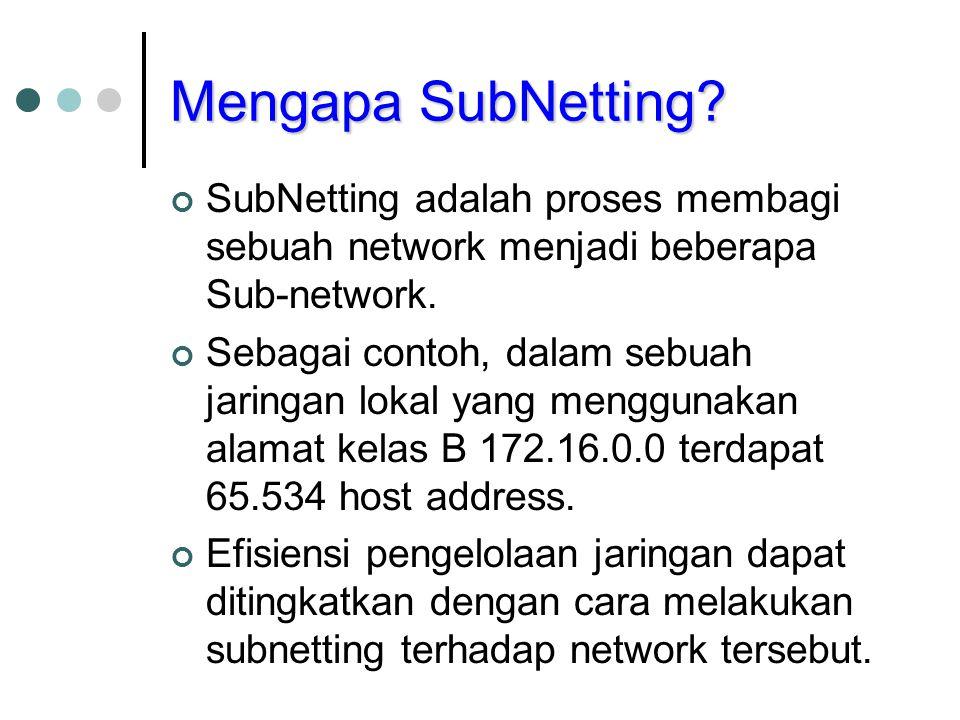 Mengapa SubNetting? SubNetting adalah proses membagi sebuah network menjadi beberapa Sub-network. Sebagai contoh, dalam sebuah jaringan lokal yang men