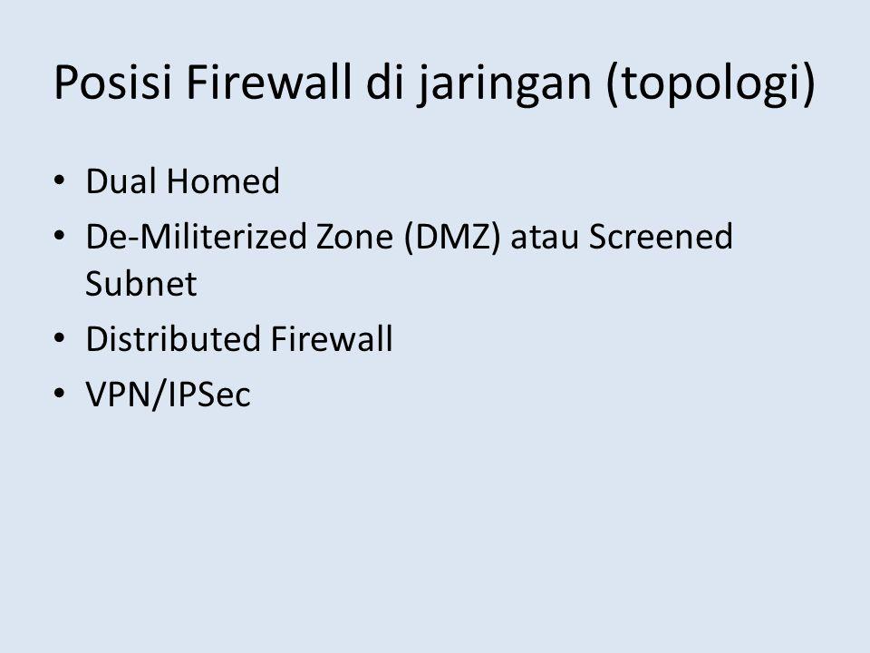 Posisi Firewall di jaringan (topologi) Dual Homed De-Militerized Zone (DMZ) atau Screened Subnet Distributed Firewall VPN/IPSec
