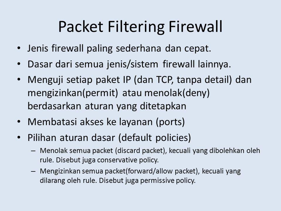Packet Filtering Firewall Jenis firewall paling sederhana dan cepat. Dasar dari semua jenis/sistem firewall lainnya. Menguji setiap paket IP (dan TCP,