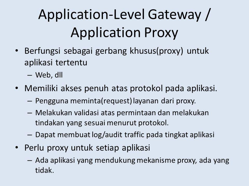 Application-Level Gateway / Application Proxy Berfungsi sebagai gerbang khusus(proxy) untuk aplikasi tertentu – Web, dll Memiliki akses penuh atas protokol pada aplikasi.