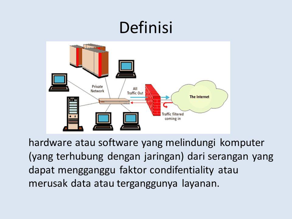 Definisi hardware atau software yang melindungi komputer (yang terhubung dengan jaringan) dari serangan yang dapat mengganggu faktor condifentiality atau merusak data atau terganggunya layanan.