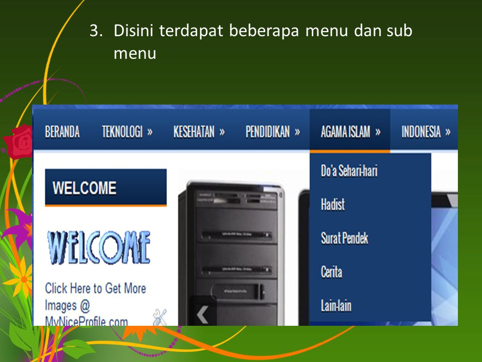 3.Disini terdapat beberapa menu dan sub menu