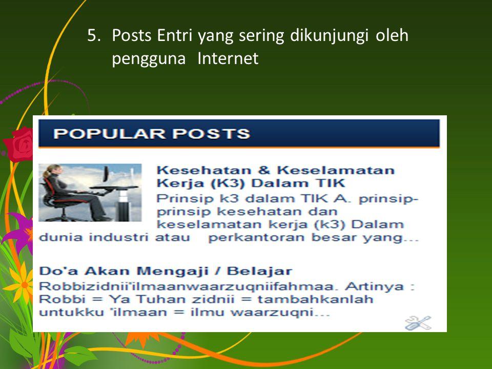 5.Posts Entri yang sering dikunjungi oleh pengguna Internet
