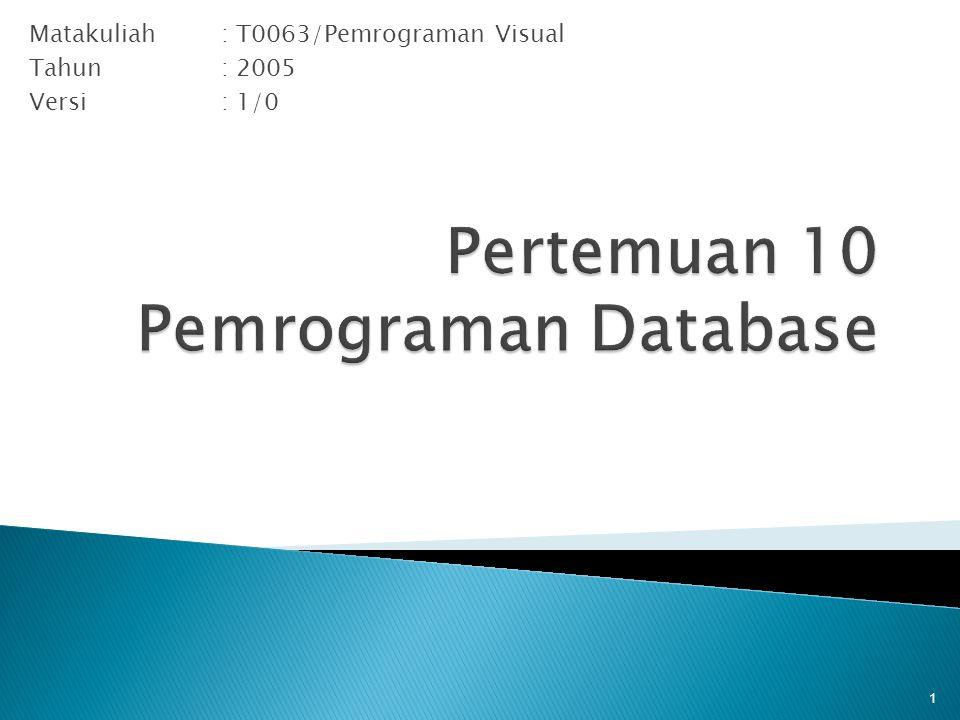 Matakuliah: T0063/Pemrograman Visual Tahun: 2005 Versi: 1/0 1