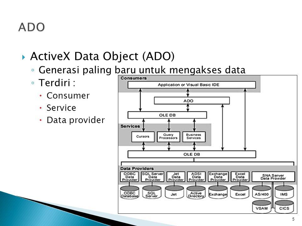  ActiveX Data Object (ADO) ◦ Generasi paling baru untuk mengakses data ◦ Terdiri :  Consumer  Service  Data provider 5