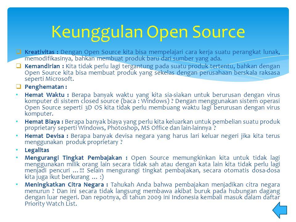  Kreativitas : Dengan Open Source kita bisa mempelajari cara kerja suatu perangkat lunak, memodifikasinya, bahkan membuat produk baru dari sumber yan