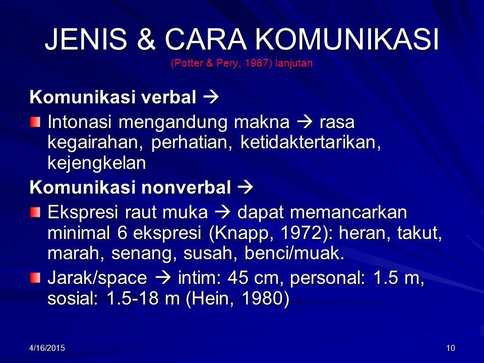 4/16/201510 JENIS & CARA KOMUNIKASI (Potter & Pery, 1987) lanjutan Komunikasi verbal  Intonasi mengandung makna  rasa kegairahan, perhatian, ketidaktertarikan, kejengkelan Komunikasi nonverbal  Ekspresi raut muka  dapat memancarkan minimal 6 ekspresi (Knapp, 1972): heran, takut, marah, senang, susah, benci/muak.