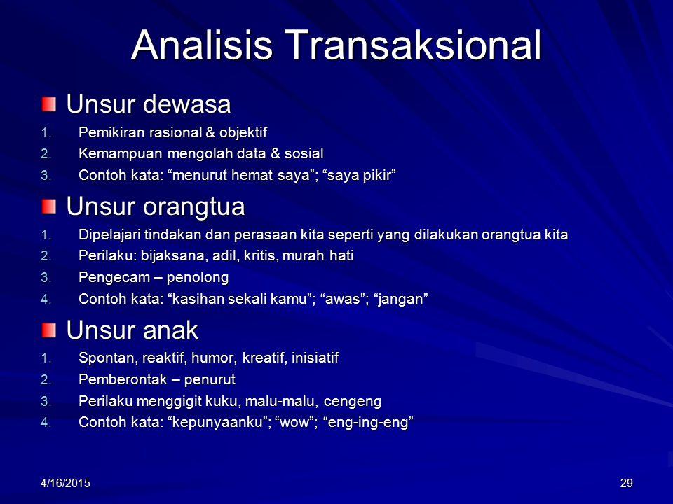 Analisis Transaksional Unsur dewasa 1.Pemikiran rasional & objektif 2.