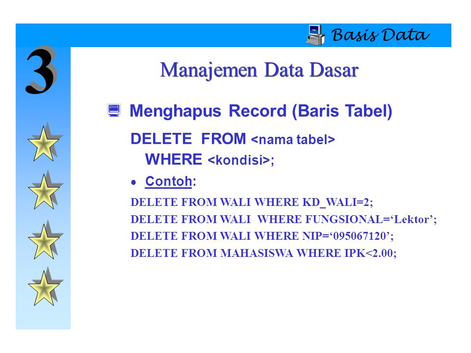 3 3 Basis Data  Menghapus Record (Baris Tabel) DELETE FROM WHERE ;  Contoh: DELETE FROM WALI WHERE KD_WALI=2; DELETE FROM WALI WHERE FUNGSIONAL='Lek
