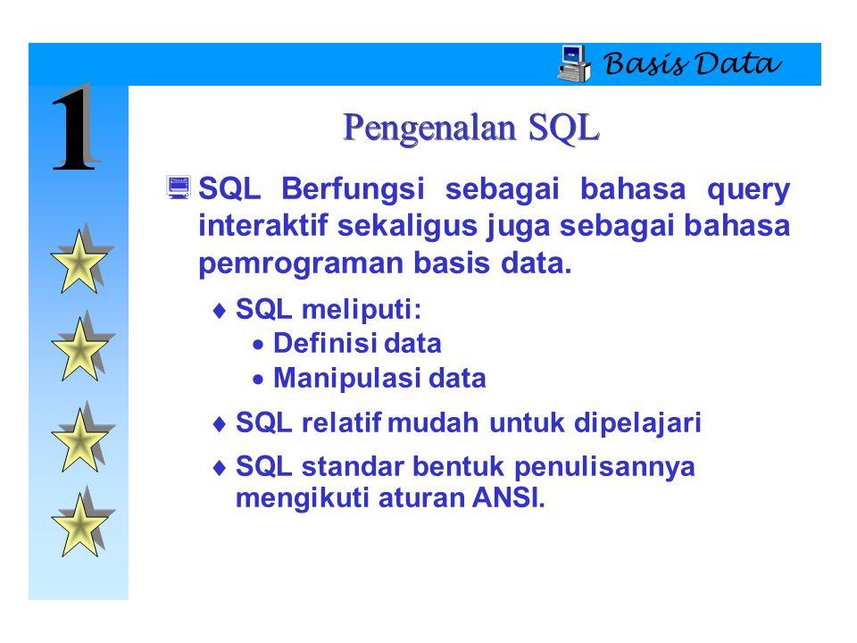 1 1 Basis Data  SQL Berfungsi sebagai bahasa query interaktif sekaligus juga sebagai bahasa pemrograman basis data.  SQL meliputi:  Definisi data 