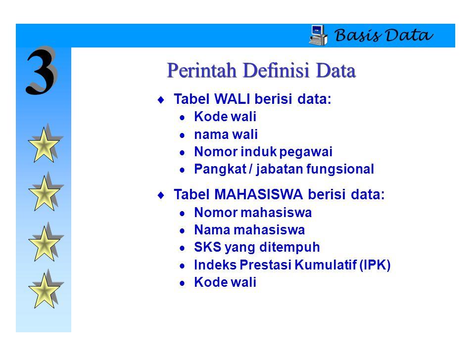 3 3 Basis Data  Tabel WALI berisi data:  Kode wali  nama wali  Nomor induk pegawai  Pangkat / jabatan fungsional  Tabel MAHASISWA berisi data: 