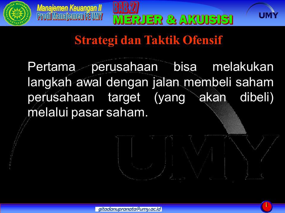 Pertama perusahaan bisa melakukan langkah awal dengan jalan membeli saham perusahaan target (yang akan dibeli) melalui pasar saham. Strategi dan Takti