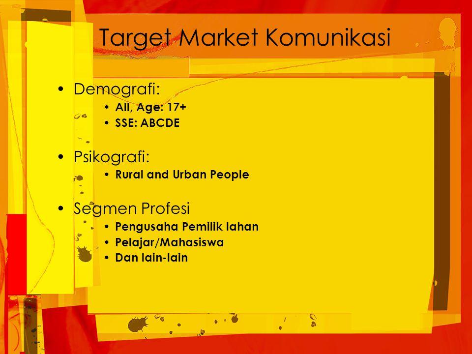 Target Market Komunikasi Demografi: All, Age: 17+ SSE: ABCDE Psikografi: Rural and Urban People Segmen Profesi Pengusaha Pemilik lahan Pelajar/Mahasiswa Dan lain-lain