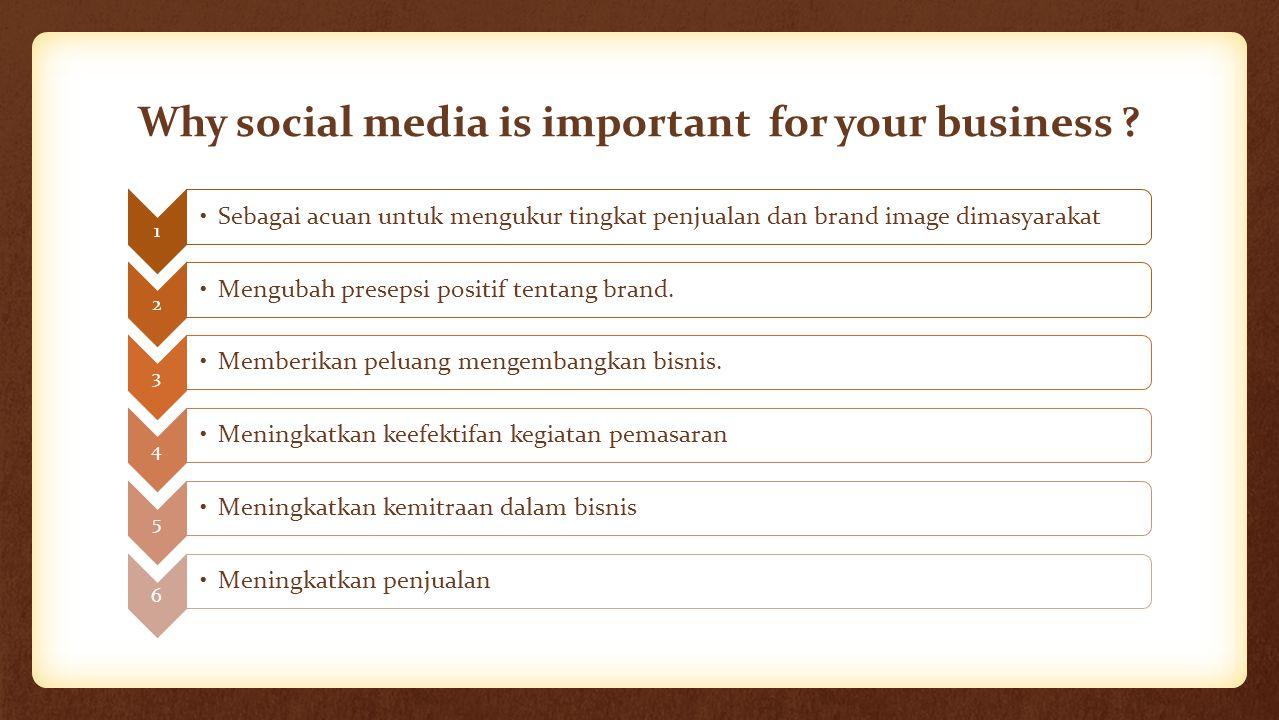 Why social media is important for your business ? 1 Sebagai acuan untuk mengukur tingkat penjualan dan brand image dimasyarakat 2 Mengubah presepsi po
