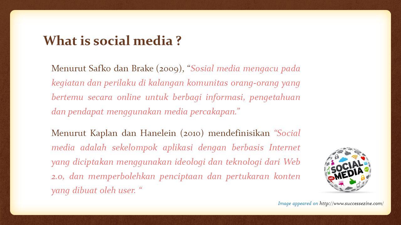 """What is social media ? Menurut Safko dan Brake (2009), """"Sosial media mengacu pada kegiatan dan perilaku di kalangan komunitas orang-orang yang bertemu"""