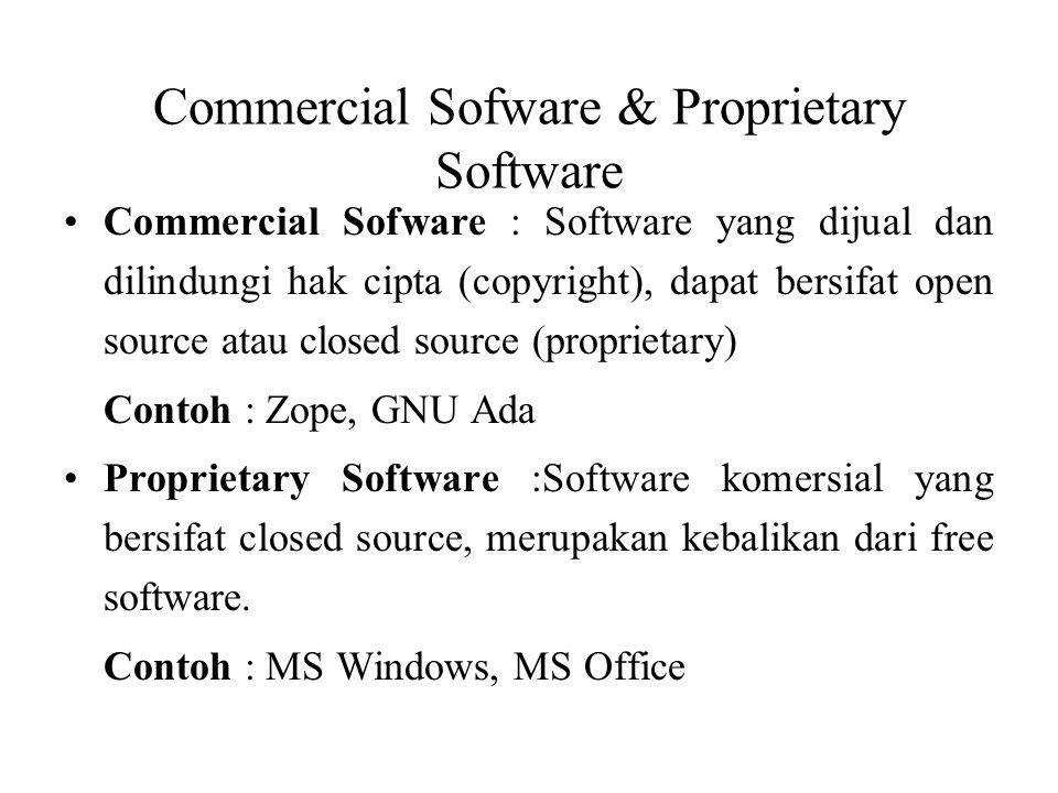 Commercial Sofware & Proprietary Software Commercial Sofware : Software yang dijual dan dilindungi hak cipta (copyright), dapat bersifat open source a