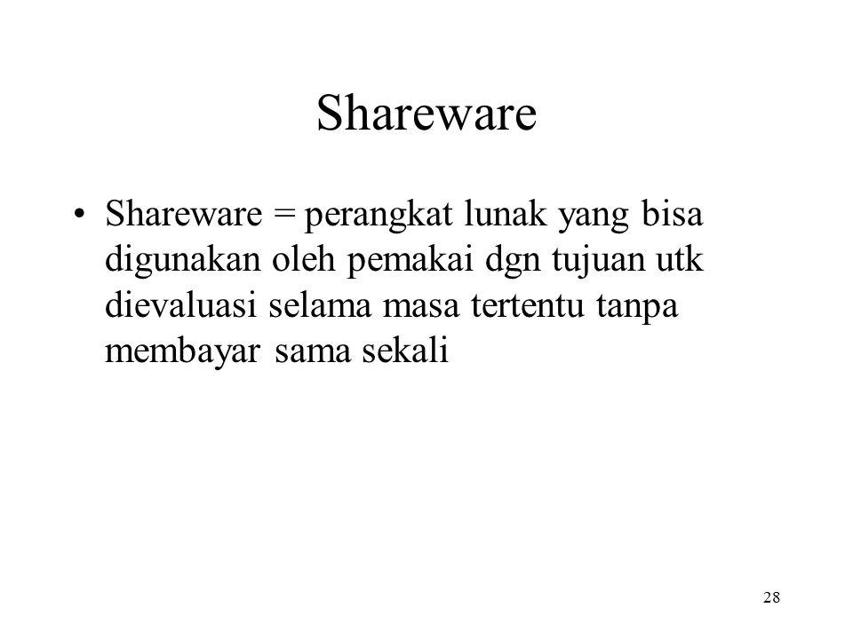 28 Shareware Shareware = perangkat lunak yang bisa digunakan oleh pemakai dgn tujuan utk dievaluasi selama masa tertentu tanpa membayar sama sekali