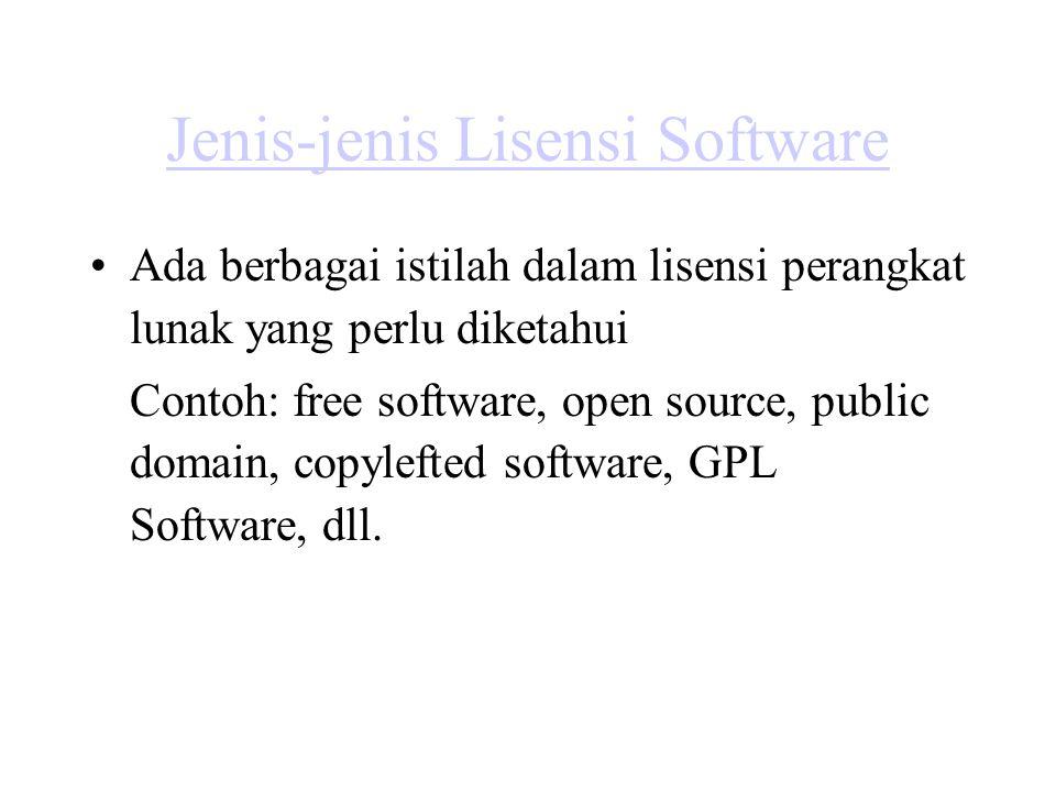 Free Software Free Software: Software yang dalam lisensinya mengizinkan siapapun untuk menggunakan, menyalin/menggandakan, dan mendistribusikannya, sesuai aslinya atau sudah dimodifikasi, baik gratis maupun dengan memungut biaya.