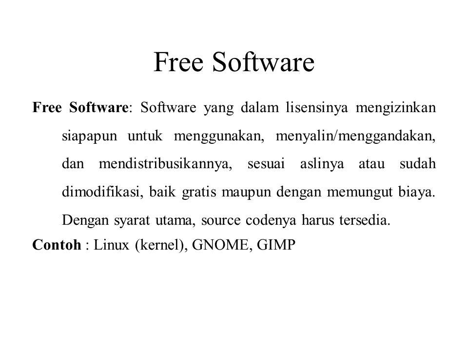 Free Software Free Software: Software yang dalam lisensinya mengizinkan siapapun untuk menggunakan, menyalin/menggandakan, dan mendistribusikannya, se