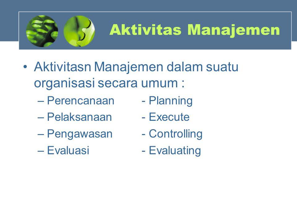 Aktivitas Manajemen Aktivitasn Manajemen dalam suatu organisasi secara umum : –Perencanaan - Planning –Pelaksanaan- Execute –Pengawasan - Controlling