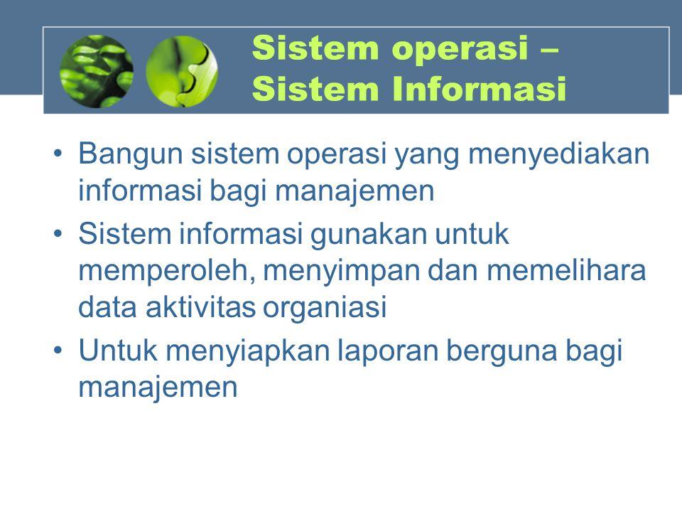 Sistem operasi – Sistem Informasi Bangun sistem operasi yang menyediakan informasi bagi manajemen Sistem informasi gunakan untuk memperoleh, menyimpan