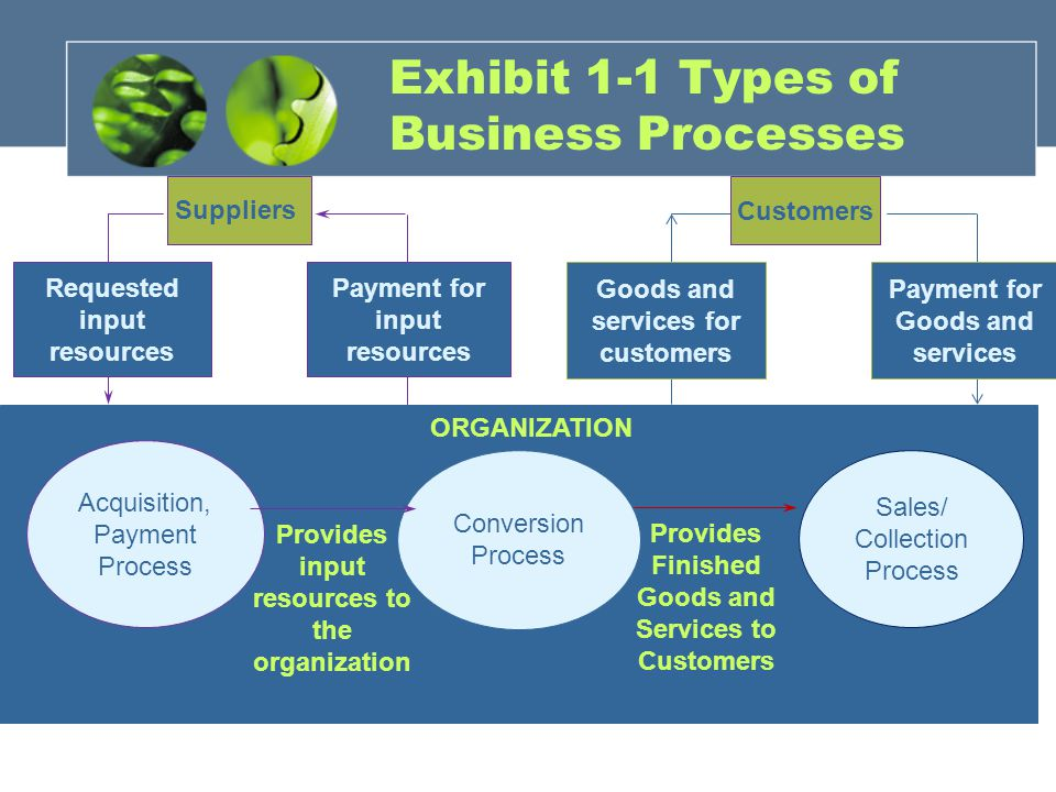 ORGANIZATION Conversion Process Customers Provides Finished Goods and Services to Customers Sales/ Collection Process Goods and services for customers Payment for Goods and services Exhibit 1-1 Types of Business Processes Suppliers Acquisition, Payment Process Provides input resources to the organization Requested input resources Payment for input resources