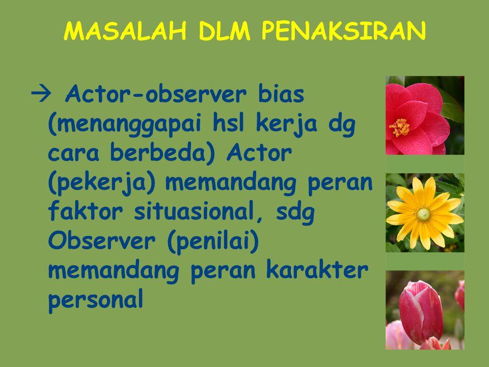 MASALAH DLM PENAKSIRAN  Actor-observer bias (menanggapai hsl kerja dg cara berbeda) Actor (pekerja) memandang peran faktor situasional, sdg Observer (penilai) memandang peran karakter personal
