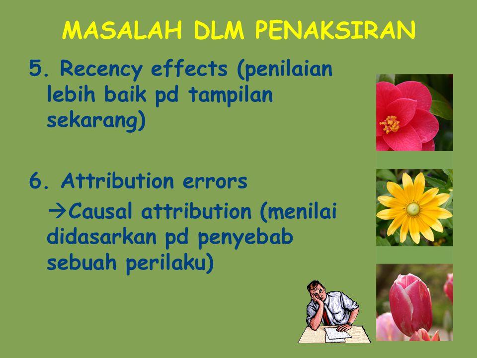 MASALAH DLM PENAKSIRAN 5.Recency effects (penilaian lebih baik pd tampilan sekarang) 6.