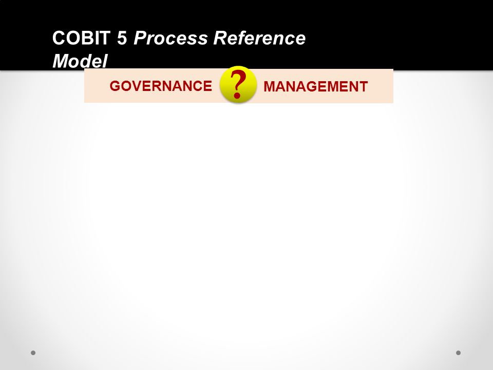 COBIT 5 Process Reference Model GOVERNANCE MANAGEMENT ? ?