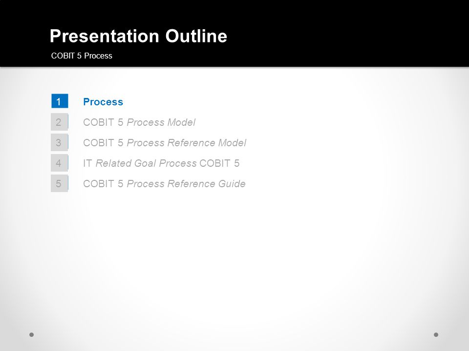 COBIT 5 Process Reference Model GOVERNANCEMANAGEMENT ? ? ? ? ? ?