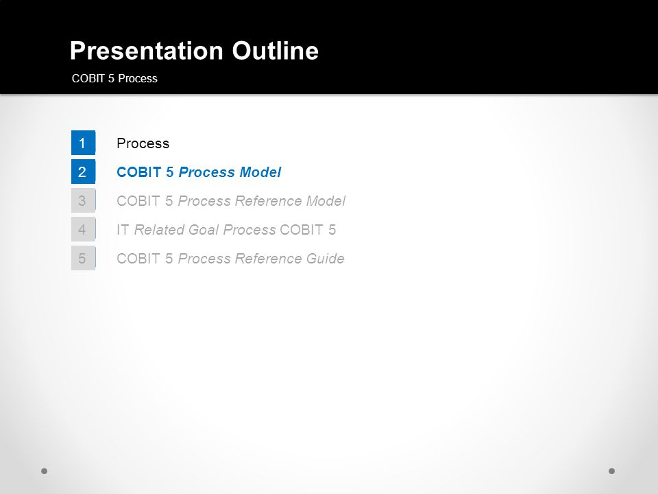 Presentation Outline COBIT 5 Process 1 COBIT 5 Process Model 2 COBIT 5 Process Reference Model 3 IT Related Goal Process COBIT 5 4 COBIT 5 Process Ref