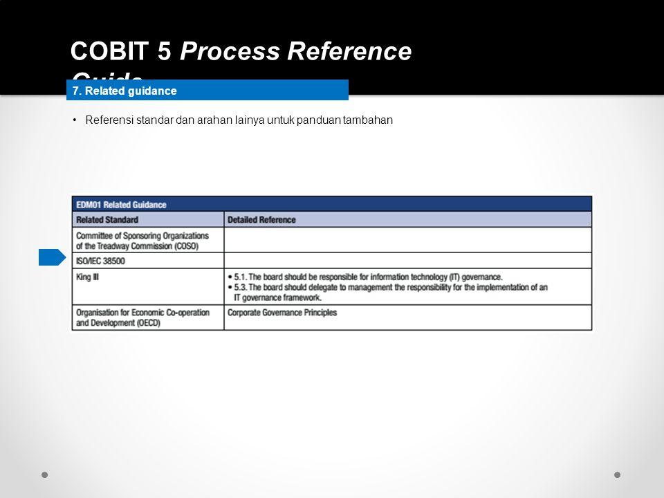 COBIT 5 Process Reference Guide 7. Related guidance Referensi standar dan arahan lainya untuk panduan tambahan