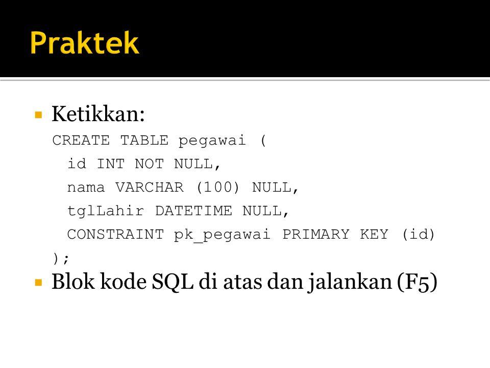  Ketikkan: CREATE TABLE pegawai ( id INT NOT NULL, nama VARCHAR (100) NULL, tglLahir DATETIME NULL, CONSTRAINT pk_pegawai PRIMARY KEY (id) );  Blok kode SQL di atas dan jalankan (F5)