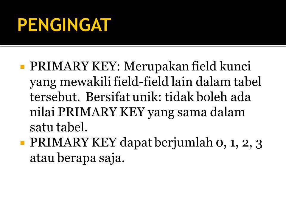  PRIMARY KEY: Merupakan field kunci yang mewakili field-field lain dalam tabel tersebut.