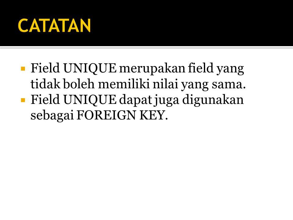  Field UNIQUE merupakan field yang tidak boleh memiliki nilai yang sama.