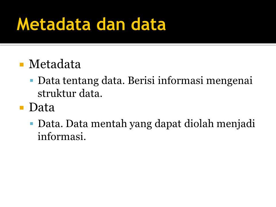  Metadata  Data tentang data.Berisi informasi mengenai struktur data.